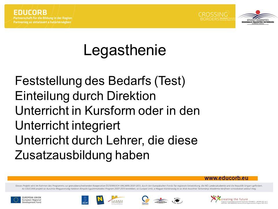 www.educorb.eu Legasthenie Feststellung des Bedarfs (Test) Einteilung durch Direktion Unterricht in Kursform oder in den Unterricht integriert Unterri