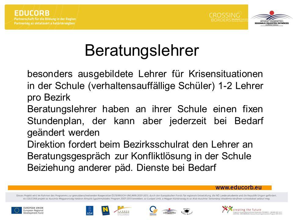 www.educorb.eu Beratungslehrer besonders ausgebildete Lehrer für Krisensituationen in der Schule (verhaltensauffällige Schüler) 1-2 Lehrer pro Bezirk
