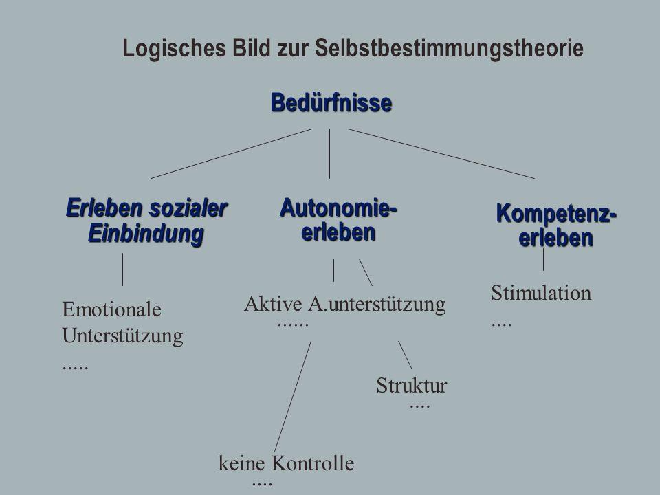 Erleben sozialer EinbindungBedürfnisseAutonomie-erleben Kompetenz-erleben keine Kontrolle.... Struktur.... Aktive A.unterstützung...... Logisches Bild