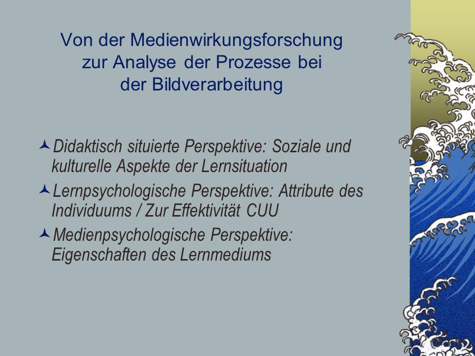 Von der Medienwirkungsforschung zur Analyse der Prozesse bei der Bildverarbeitung Didaktisch situierte Perspektive: Soziale und kulturelle Aspekte der