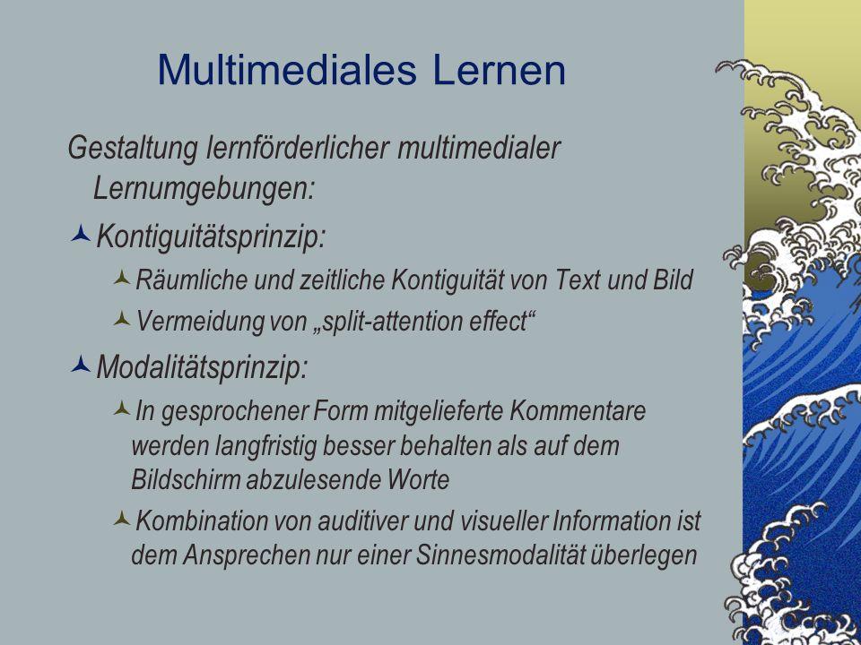 Multimediales Lernen Gestaltung lernförderlicher multimedialer Lernumgebungen: Kontiguitätsprinzip: Räumliche und zeitliche Kontiguität von Text und B