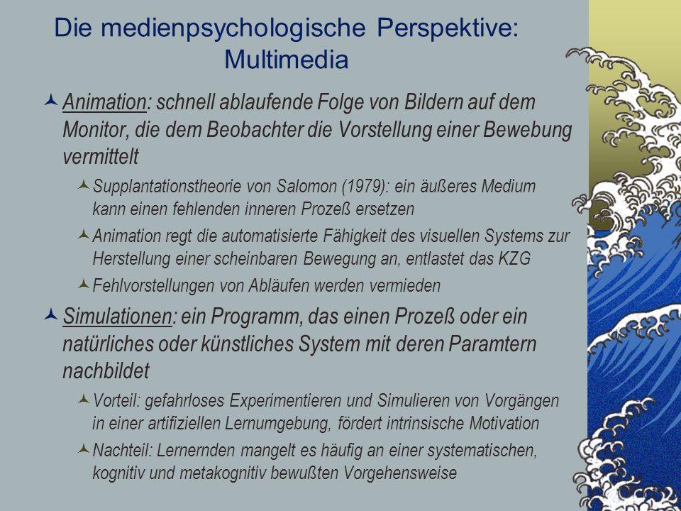Die medienpsychologische Perspektive: Multimedia Animation: schnell ablaufende Folge von Bildern auf dem Monitor, die dem Beobachter die Vorstellung e