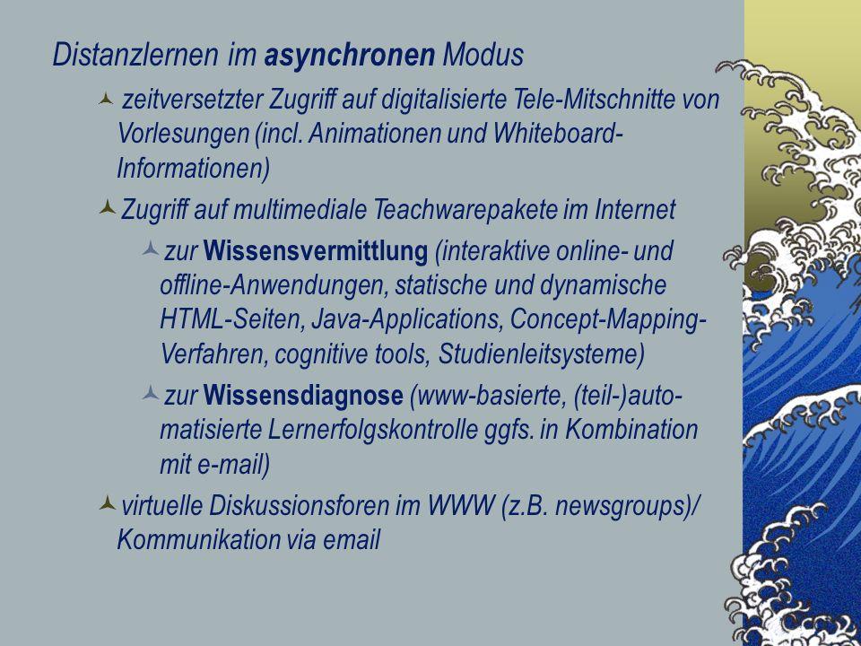 Distanzlernen im asynchronen Modus zeitversetzter Zugriff auf digitalisierte Tele-Mitschnitte von Vorlesungen (incl. Animationen und Whiteboard- Infor