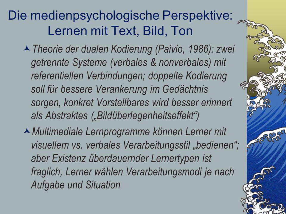 Die medienpsychologische Perspektive: Lernen mit Text, Bild, Ton Theorie der dualen Kodierung (Paivio, 1986): zwei getrennte Systeme (verbales & nonve