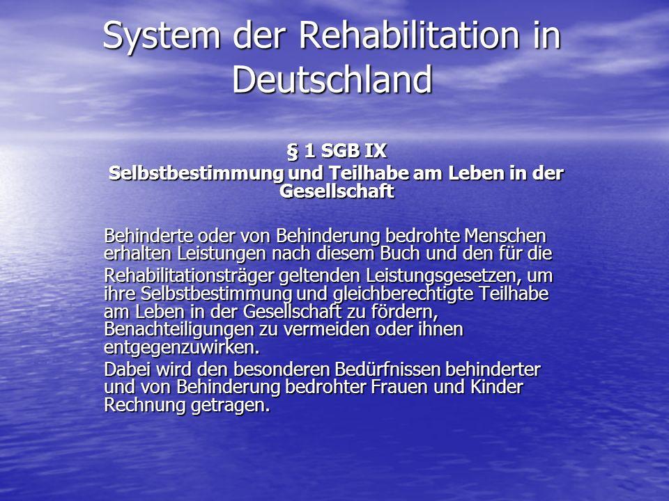 System der Rehabilitation in Deutschland § 1 SGB IX Selbstbestimmung und Teilhabe am Leben in der Gesellschaft Behinderte oder von Behinderung bedroht