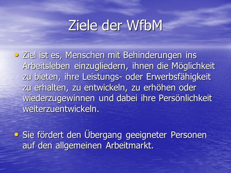 Ziele der WfbM Ziel ist es, Menschen mit Behinderungen ins Arbeitsleben einzugliedern, ihnen die Möglichkeit zu bieten, ihre Leistungs- oder Erwerbsfä