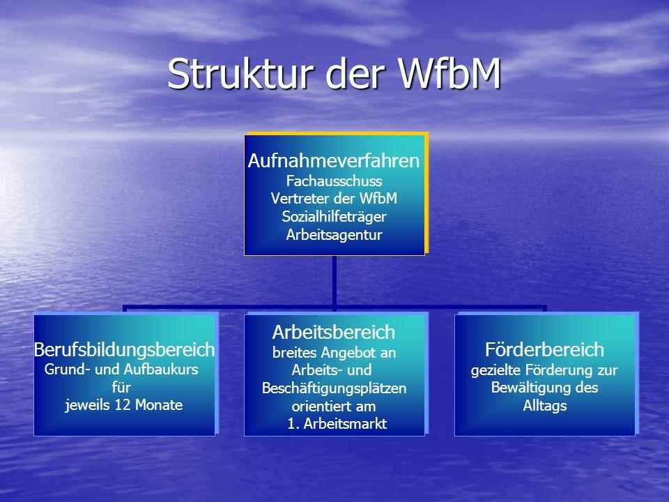 Struktur der WfbM Aufnahmeverfahren Fachausschuss Vertreter der WfbM Sozialhilfeträger Arbeitsagentur Berufsbildungsbereich Grund- und Aufbaukurs für