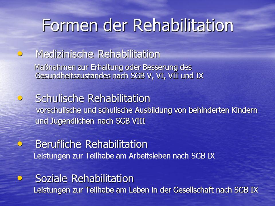 Formen der Rehabilitation Medizinische Rehabilitation Medizinische Rehabilitation Maßnahmen zur Erhaltung oder Besserung des Gesundheitszustandes nach