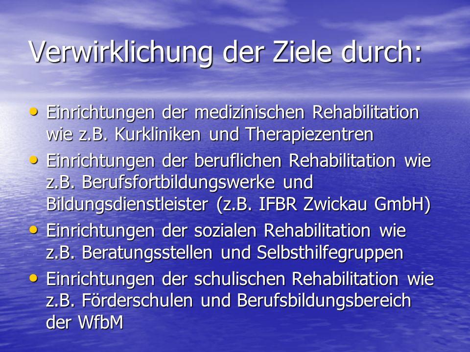 Verwirklichung der Ziele durch: Einrichtungen der medizinischen Rehabilitation wie z.B. Kurkliniken und Therapiezentren Einrichtungen der medizinische