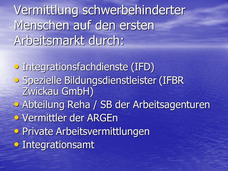 Vermittlung schwerbehinderter Menschen auf den ersten Arbeitsmarkt durch: Integrationsfachdienste (IFD) Integrationsfachdienste (IFD) Spezielle Bildun