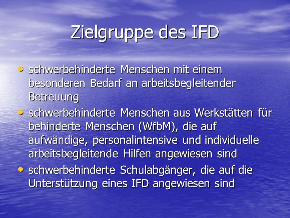 Zielgruppe des IFD schwerbehinderte Menschen mit einem besonderen Bedarf an arbeitsbegleitender Betreuung schwerbehinderte Menschen mit einem besonder