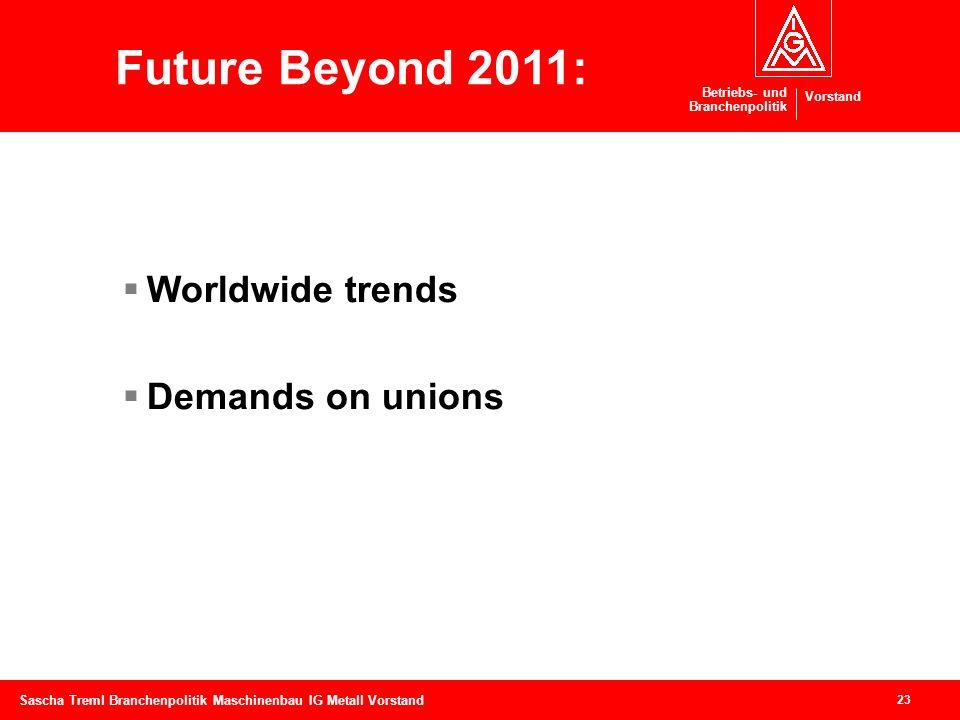 Betriebs- und Branchenpolitik Vorstand 23 Sascha Treml Branchenpolitik Maschinenbau IG Metall Vorstand Worldwide trends Demands on unions Future Beyon