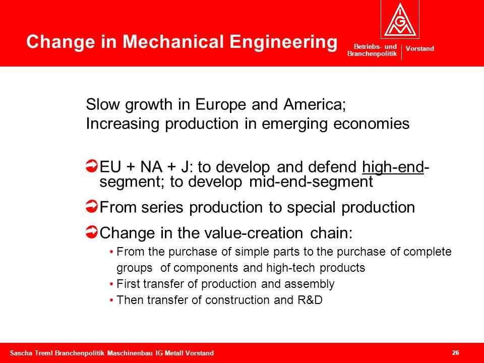 Betriebs- und Branchenpolitik Vorstand 26 Sascha Treml Branchenpolitik Maschinenbau IG Metall Vorstand 26 Slow growth in Europe and America; Increasin
