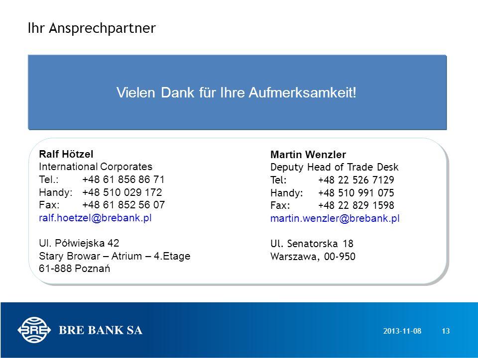 2013-11-0813 Ihr Ansprechpartner Ralf Hötzel International Corporates Tel.: +48 61 856 86 71 Handy: +48 510 029 172 Fax: +48 61 852 56 07 ralf.hoetzel
