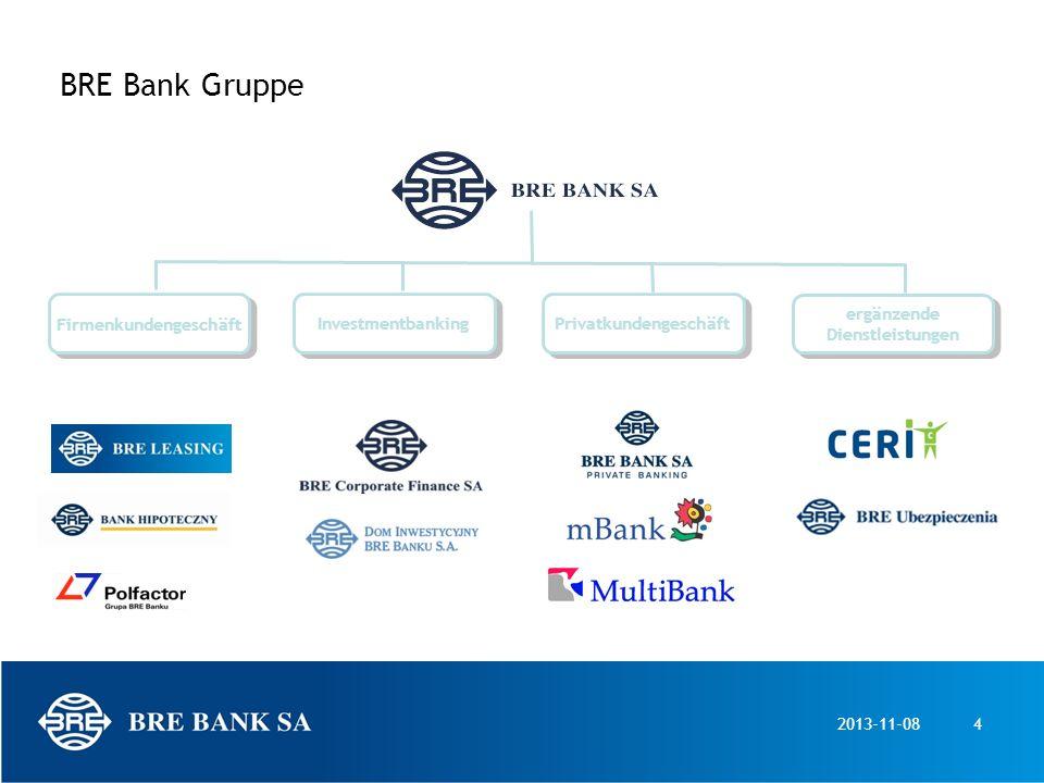 2013-11-084 BRE Bank Gruppe Firmenkundengeschäft Investmentbanking Privatkundengeschäft ergänzende Dienstleistungen ergänzende Dienstleistungen
