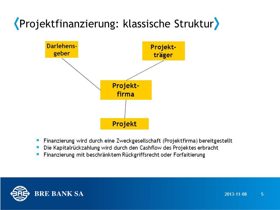 2013-11-085 Projektfinanzierung: klassische Struktur Projekt- firma Projekt- träger Darlehens- geber Finanzierung wird durch eine Zweckgesellschaft (P