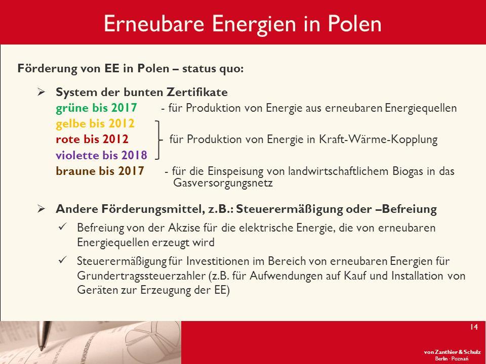 von Zanthier & Schulz Berlin· Poznań 14 Erneubare Energien in Polen Förderung von EE in Polen – status quo: System der bunten Zertifikate grüne bis 20