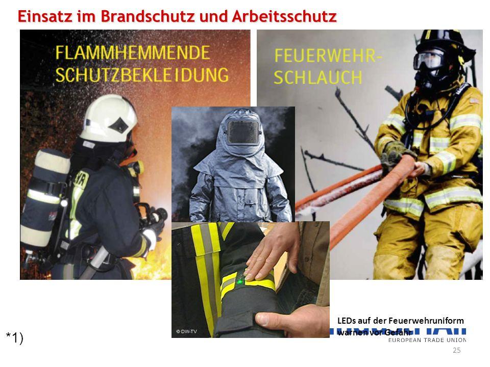 *1) Einsatz im Brandschutz und Arbeitsschutz LEDs auf der Feuerwehruniform warnen vor Gefahr 25