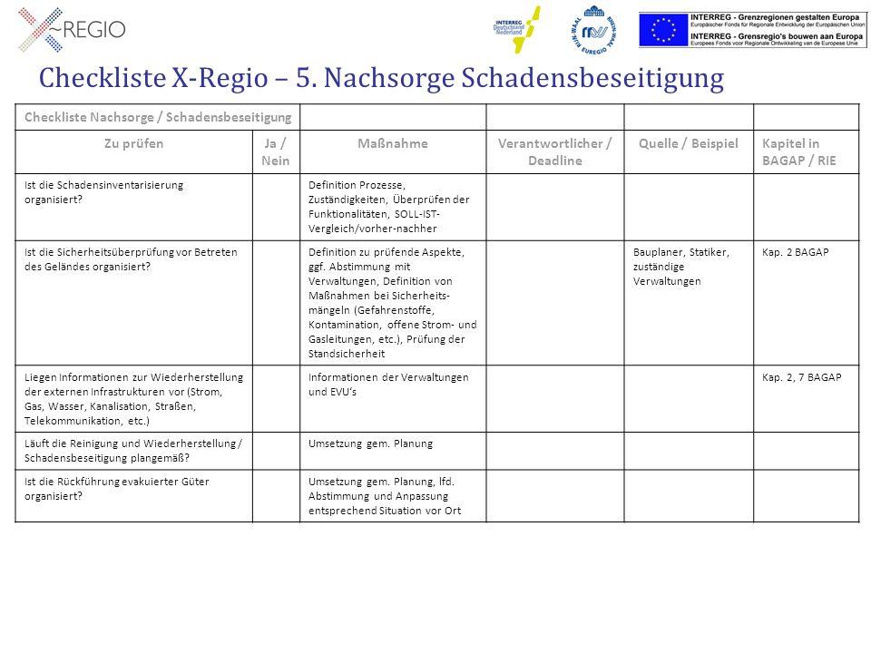 Checkliste X-Regio – 5. Nachsorge Schadensbeseitigung Checkliste Nachsorge / Schadensbeseitigung Zu prüfenJa / Nein MaßnahmeVerantwortlicher / Deadlin