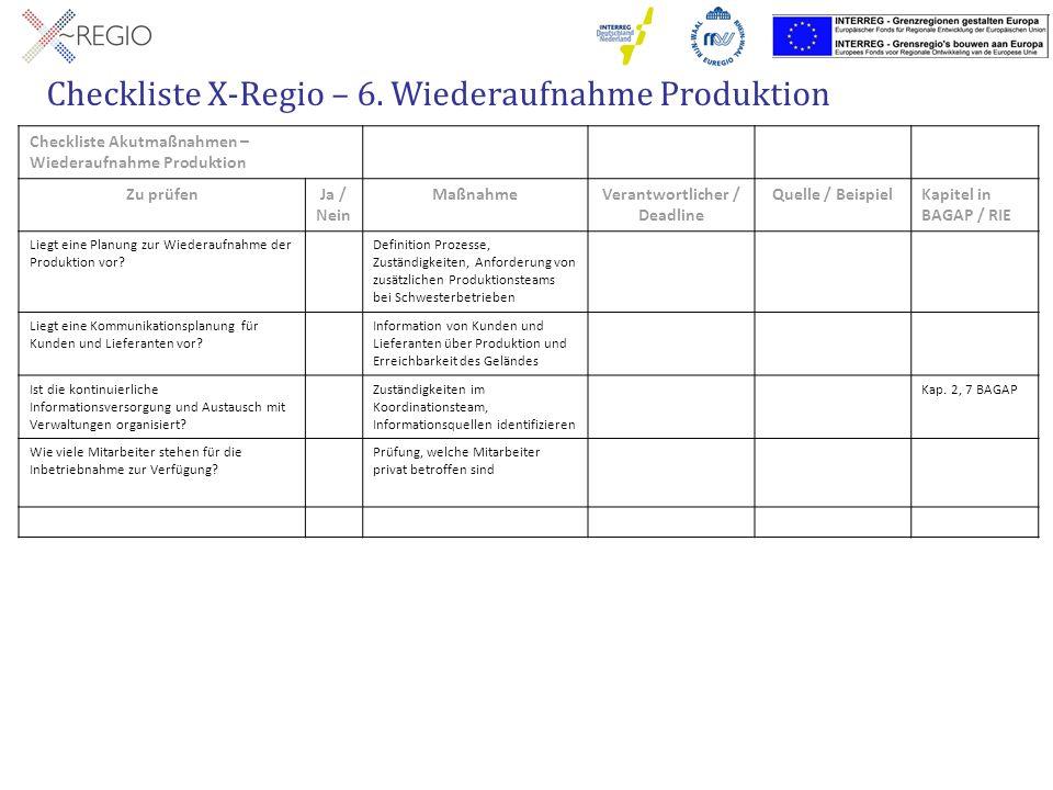 Checkliste X-Regio – 6. Wiederaufnahme Produktion Checkliste Akutmaßnahmen – Wiederaufnahme Produktion Zu prüfenJa / Nein MaßnahmeVerantwortlicher / D