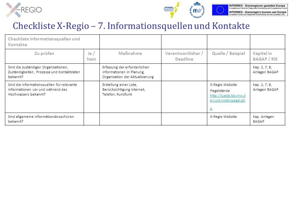 Checkliste X-Regio – 7. Informationsquellen und Kontakte Checkliste Informationsquellen und Kontakte Zu prüfenJa / Nein MaßnahmeVerantwortlicher / Dea