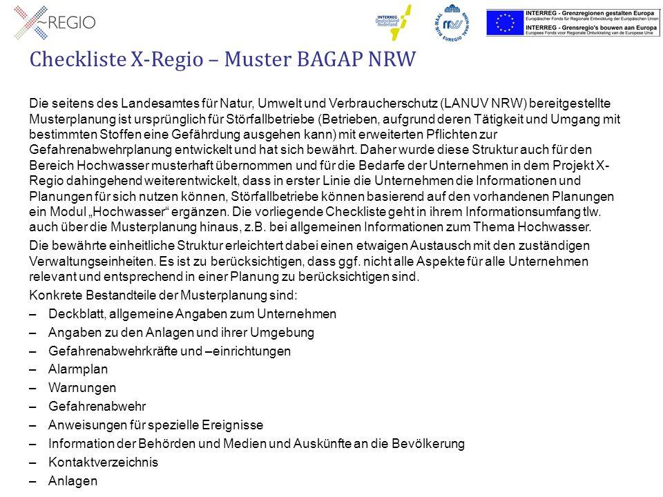 Die seitens des Landesamtes für Natur, Umwelt und Verbraucherschutz (LANUV NRW) bereitgestellte Musterplanung ist ursprünglich für Störfallbetriebe (B