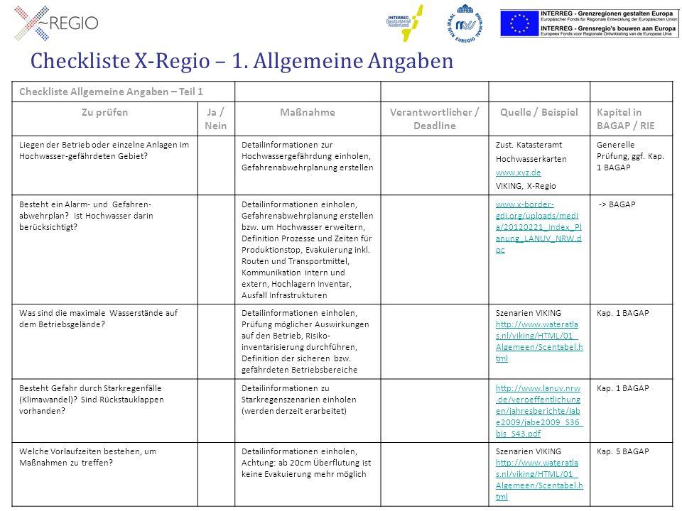Checkliste X-Regio – 1. Allgemeine Angaben Checkliste Allgemeine Angaben – Teil 1 Zu prüfenJa / Nein MaßnahmeVerantwortlicher / Deadline Quelle / Beis