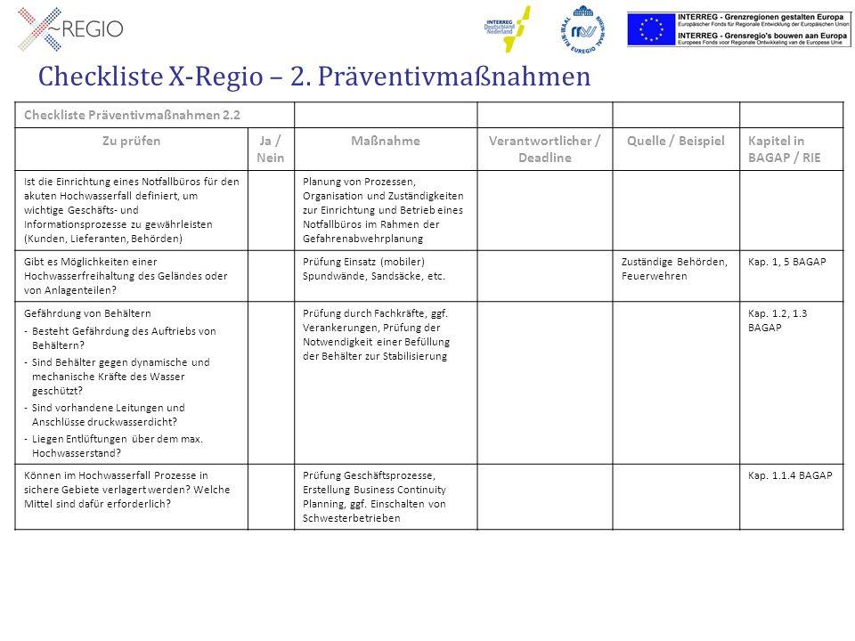 Checkliste X-Regio – 2. Präventivmaßnahmen Checkliste Präventivmaßnahmen 2.2 Zu prüfenJa / Nein MaßnahmeVerantwortlicher / Deadline Quelle / BeispielK