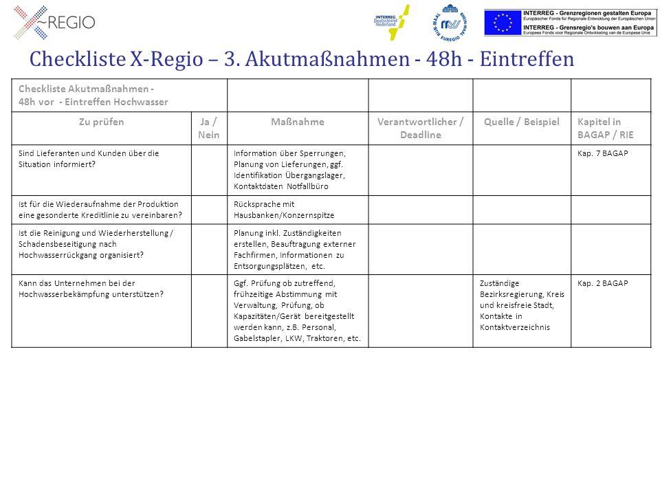 Checkliste X-Regio – 3. Akutmaßnahmen - 48h - Eintreffen Checkliste Akutmaßnahmen - 48h vor - Eintreffen Hochwasser Zu prüfenJa / Nein MaßnahmeVerantw