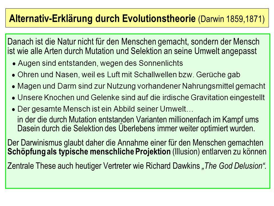 Umgangswege mit der Evolutionstheorie Anti-Evolutionismus – Kreationismus Eine am biblischen Wortlaut des Schöpfungsberichts festhaltende in den USA entstandene Gegenbewegung.