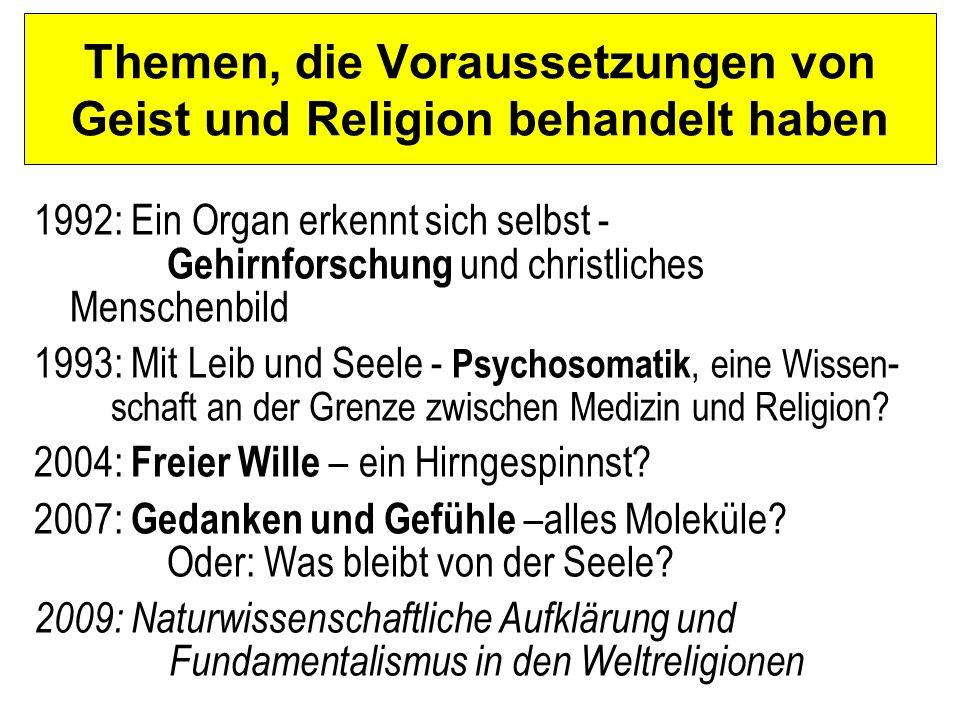 Themen, die Voraussetzungen von Geist und Religion behandelt haben 1992: Ein Organ erkennt sich selbst - Gehirnforschung und christliches Menschenbild 1993: Mit Leib und Seele - Psychosomatik, eine Wissen - schaft an der Grenze zwischen Medizin und Religion.