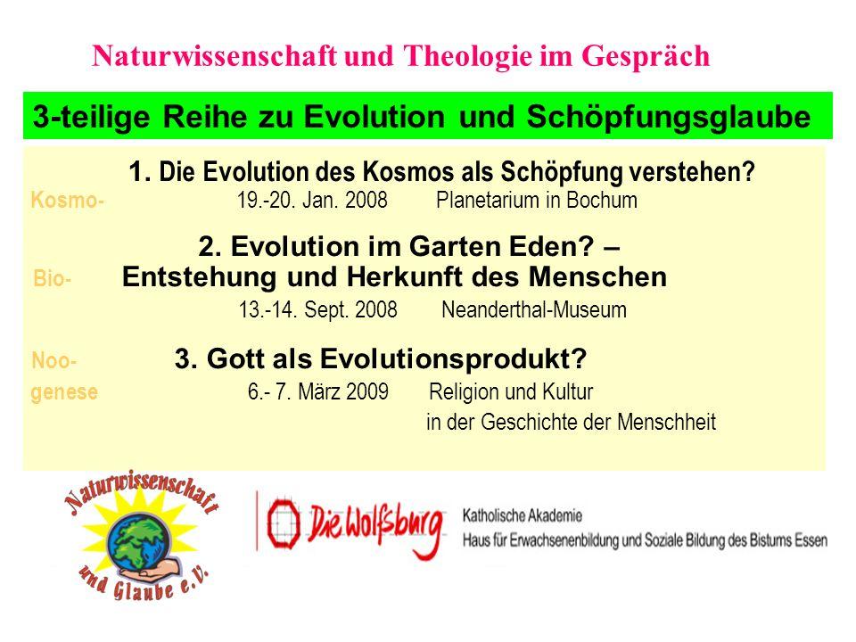 Diskussionsfelder der Tagung Ist Gott als Evolutionsprodukt eine atheistische These oder kann auch eine evolutive Entstehung Glaubensbasis sein.