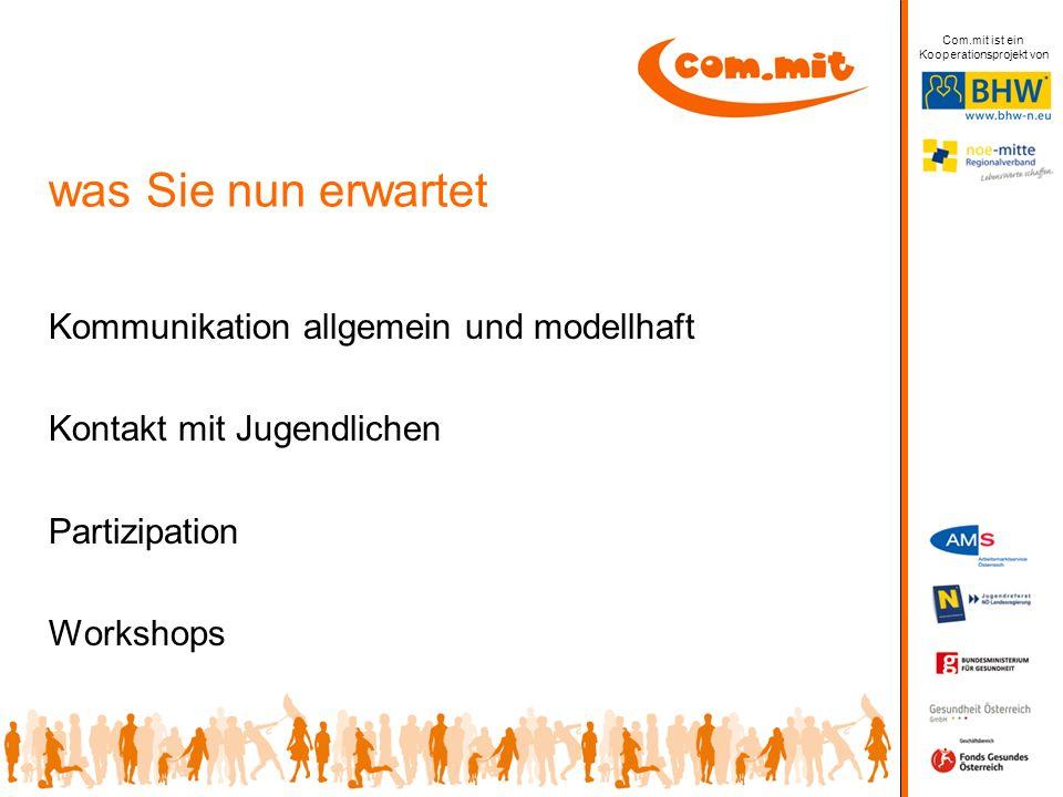 was Sie nun erwartet Kommunikation allgemein und modellhaft Kontakt mit Jugendlichen Partizipation Workshops Com.mit ist ein Kooperationsprojekt von