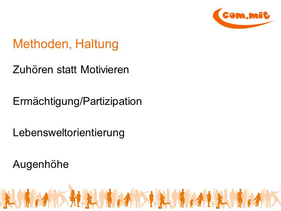 Fragebögen Themen/Bereiche externe und interne Partner Kontaktaufnahme zu den Jugendlichen Erstellung Fragebogen Auswertung Umsetzung