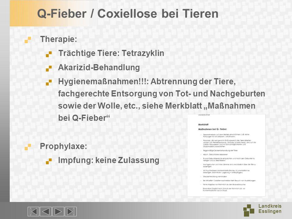 Landkreis Esslingen Q-Fieber / Coxiellose bei Tieren Therapie: Trächtige Tiere: Tetrazyklin Akarizid-Behandlung Hygienemaßnahmen!!!: Abtrennung der Ti