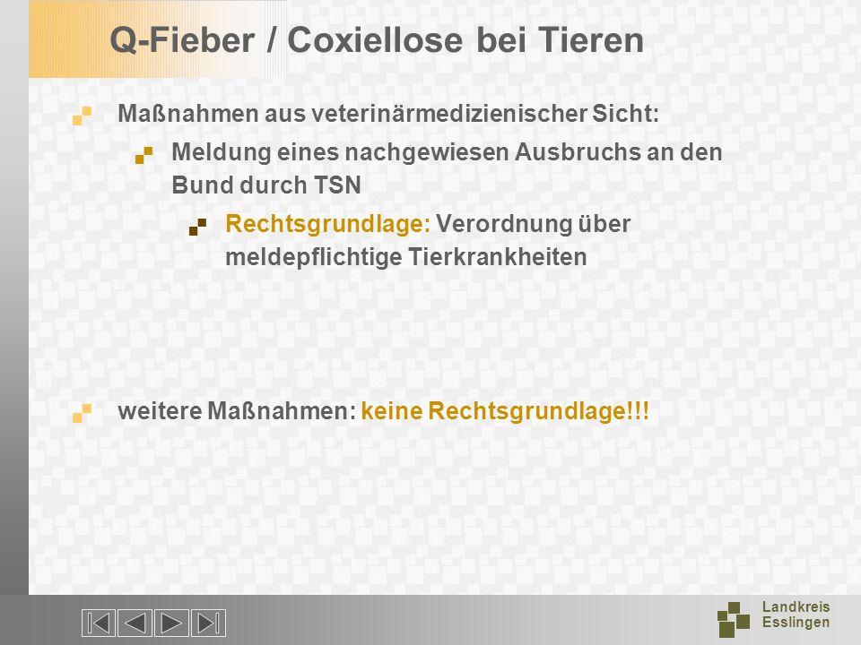 Landkreis Esslingen Q-Fieber / Coxiellose bei Tieren Maßnahmen aus veterinärmedizienischer Sicht: Meldung eines nachgewiesen Ausbruchs an den Bund dur