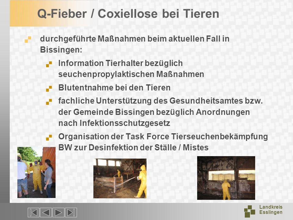 Landkreis Esslingen Q-Fieber / Coxiellose bei Tieren durchgeführte Maßnahmen beim aktuellen Fall in Bissingen: Information Tierhalter bezüglich seuche