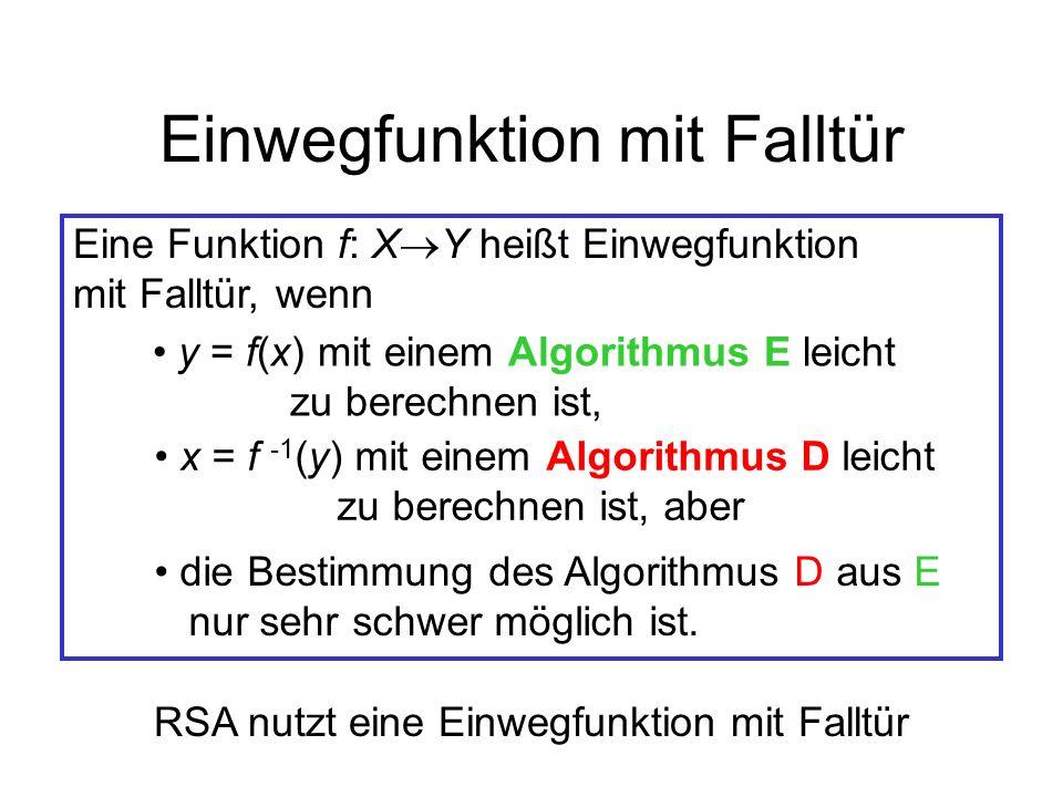 Einwegfunktion mit Falltür Eine Funktion f: X Y heißt Einwegfunktion mit Falltür, wenn y = f(x) mit einem Algorithmus E leicht zu berechnen ist, x = f
