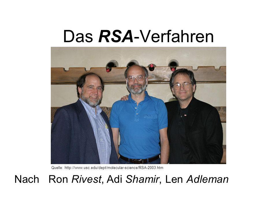 Das RSA-Verfahren Nach Ron Rivest, Adi Shamir, Len Adleman Quelle: http://www.usc.edu/dept/molecular-science/RSA-2003.htm