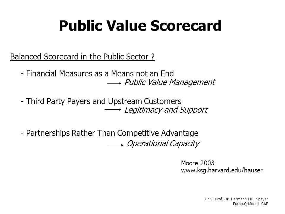 Univ.-Prof. Dr. Hermann Hill, Speyer Europ.Q-Modell CAF Public Value Scorecard Balanced Scorecard in the Public Sector ? - Financial Measures as a Mea