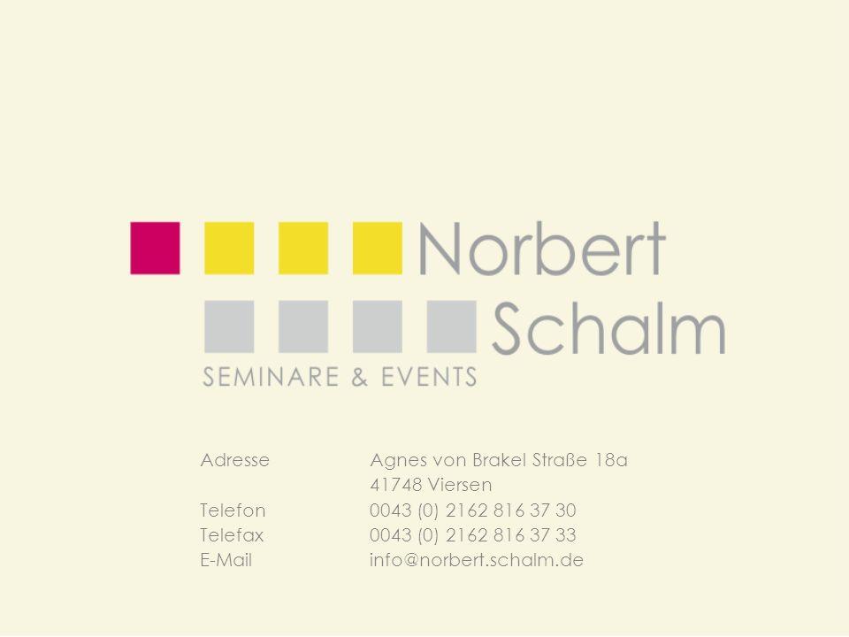 Adresse Agnes von Brakel Straße 18a 41748 Viersen Telefon0043 (0) 2162 816 37 30 Telefax 0043 (0) 2162 816 37 33 E-Mailinfo@norbert.schalm.de