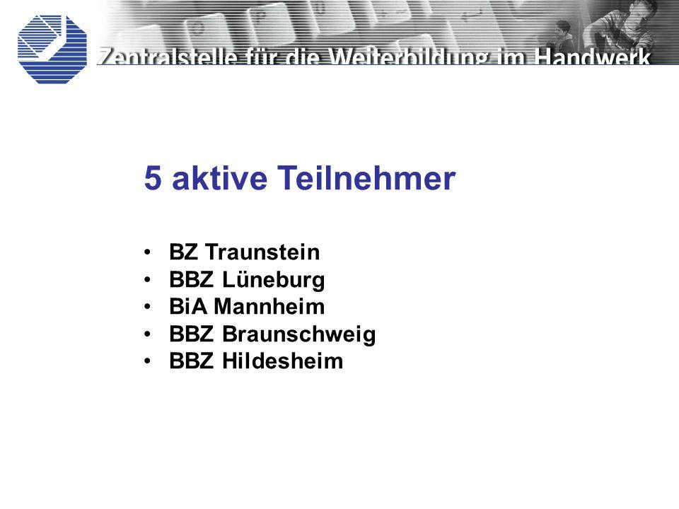 5 aktive Teilnehmer BZ Traunstein BBZ Lüneburg BiA Mannheim BBZ Braunschweig BBZ Hildesheim