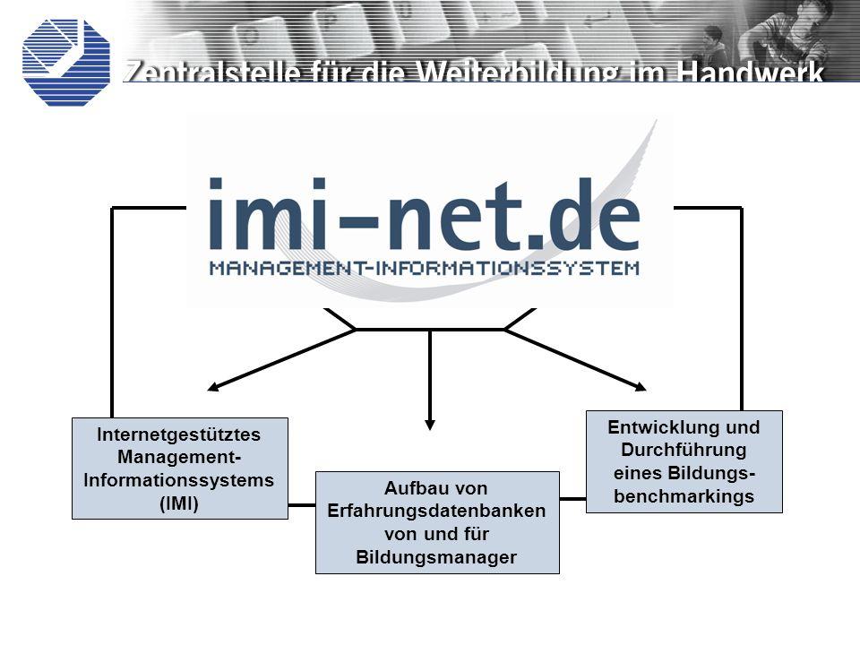 Aufbau von Erfahrungsdatenbanken von und für Bildungsmanager Internetgestütztes Management- Informationssystems (IMI) Entwicklung und Durchführung eines Bildungs- benchmarkings