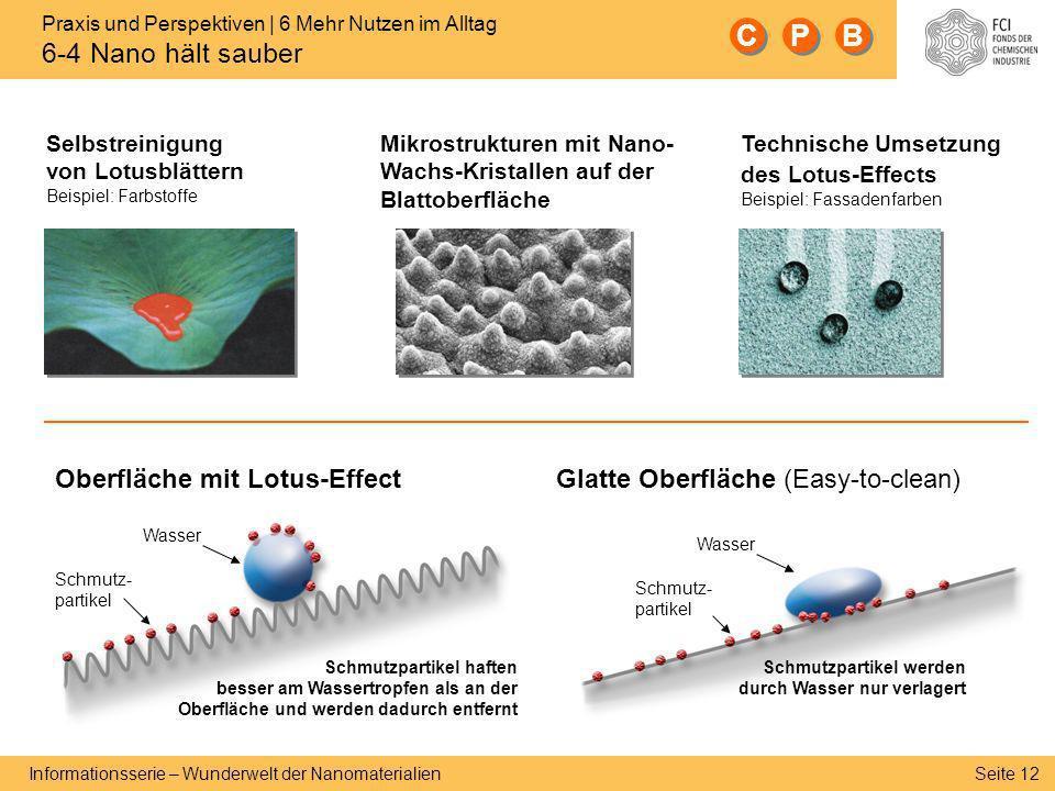 Seite 12 Informationsserie – Wunderwelt der Nanomaterialien Technische Umsetzung des Lotus-Effects Beispiel: Fassadenfarben Selbstreinigung von Lotusb