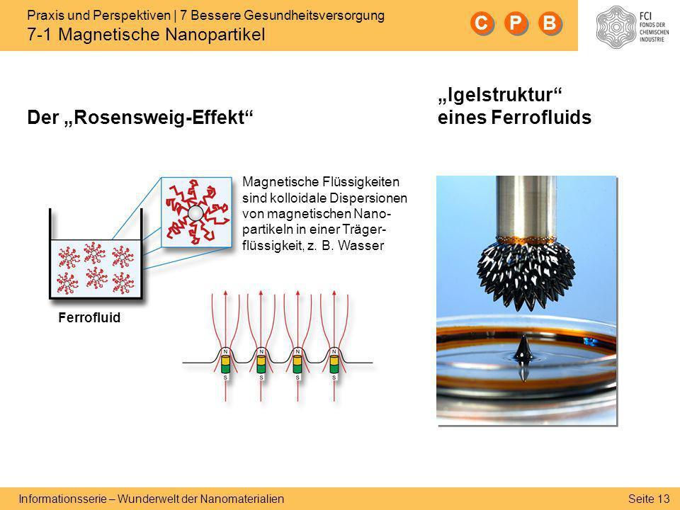 Seite 13 Informationsserie – Wunderwelt der Nanomaterialien Magnetische Flüssigkeiten sind kolloidale Dispersionen von magnetischen Nano- partikeln in