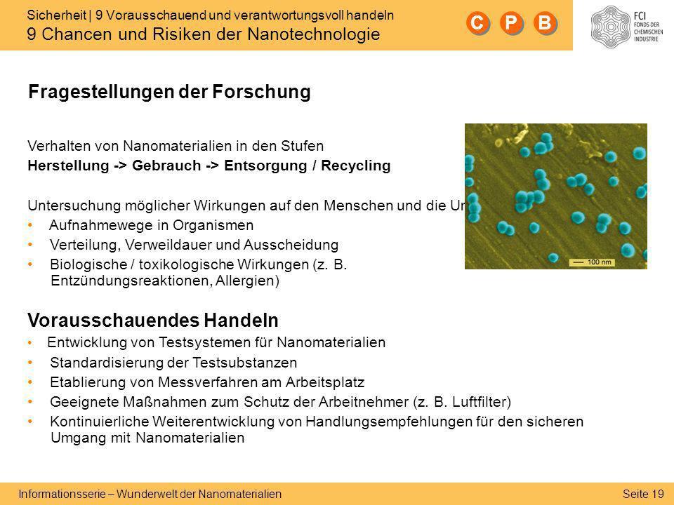 Seite 19 Informationsserie – Wunderwelt der Nanomaterialien Sicherheit | 9 Vorausschauend und verantwortungsvoll handeln 9 Chancen und Risiken der Nan