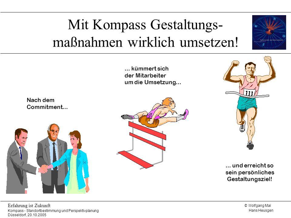 © Wolfgang Mai Hans Heusgen Erfahrung ist Zukunft Kompass - Standortbestimmung und Perspektivplanung Düsseldorf, 20.10.2005 Mit Kompass Gestaltungs- m