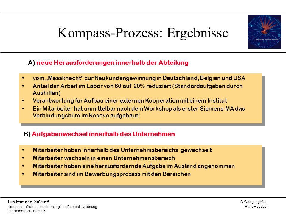 © Wolfgang Mai Hans Heusgen Erfahrung ist Zukunft Kompass - Standortbestimmung und Perspektivplanung Düsseldorf, 20.10.2005 Mitarbeiter haben innerhal