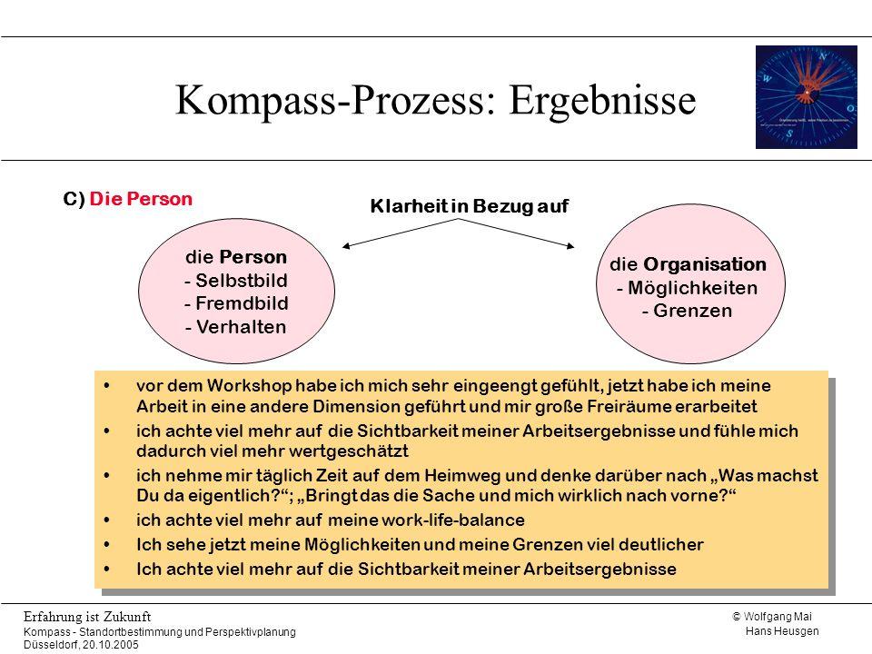© Wolfgang Mai Hans Heusgen Erfahrung ist Zukunft Kompass - Standortbestimmung und Perspektivplanung Düsseldorf, 20.10.2005 vor dem Workshop habe ich