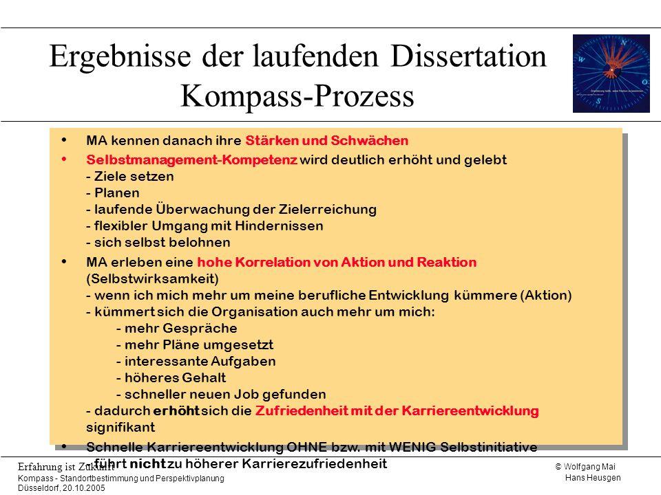 © Wolfgang Mai Hans Heusgen Erfahrung ist Zukunft Kompass - Standortbestimmung und Perspektivplanung Düsseldorf, 20.10.2005 Ergebnisse der laufenden D